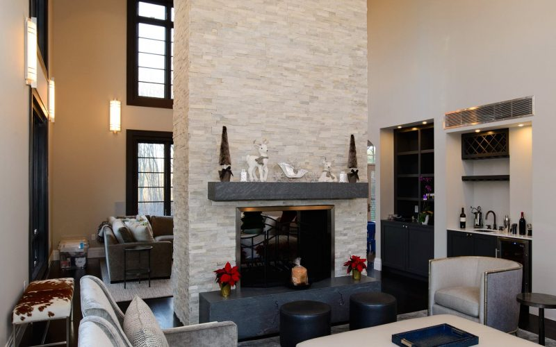 modular home with fireplace and family room