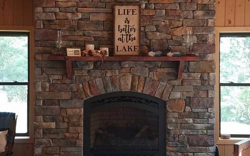 modular stone fireplace