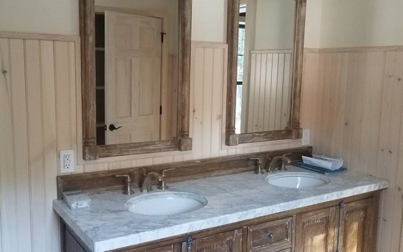 double sink marble modular  bathroom