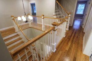 modular home stairway and hallway