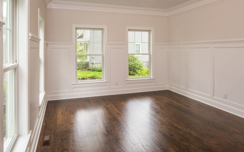 empty modular room with hardwood floors